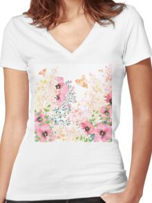 Lush lazy summer afternoon floral watercolor garden Women's Fitted V-Neck T-Shirt