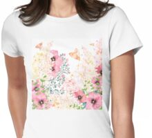 Lush lazy summer afternoon floral watercolor garden Womens Fitted T-Shirt