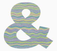 Letter & Ampersand Neon Wavy Stripe Pattern Monogram Initial Kids Tee
