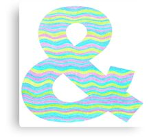 Letter & Ampersand Neon Wavy Stripe Pattern Monogram Initial Canvas Print