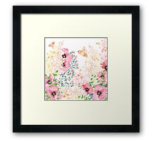 Lush lazy summer afternoon floral watercolor garden Framed Print