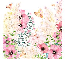 Lush lazy summer afternoon floral watercolor garden Photographic Print