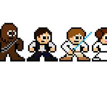 8-bit Chewie, Han, Luke & Leia by 8 Bit Hero