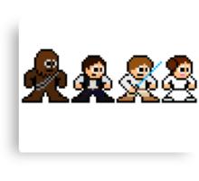 8-bit Chewie, Han, Luke & Leia Canvas Print