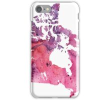 Map of Canada with A Watercolor Texture in Purple and Pink iPhone Case/Skin