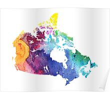 Map of Canada with A Watercolor Texture in Rainbow Colors Poster