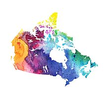 Map of Canada with A Watercolor Texture in Rainbow Colors Photographic Print