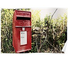 Vintage red postbox in the countryside Poster