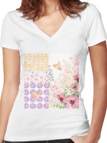 Lush Summer afternoon floral medley garden art Women's Fitted V-Neck T-Shirt