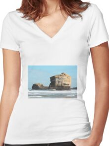 Rocks on the Beach Women's Fitted V-Neck T-Shirt