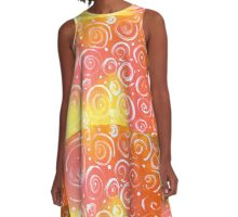 Orange Julius Colorful Design Designer Red White Coral A-Line Dress