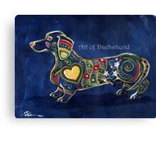 Blue Dachshund Zentangle Canvas Print