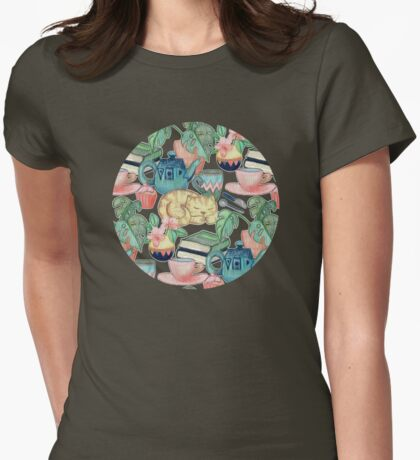 Lazy Afternoon - a chalk pastel illustration pattern Womens Fitted T-Shirt