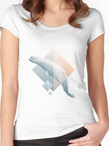 Beluga whale geometric design symbol Women's Fitted Scoop T-Shirt