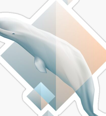 Beluga whale geometric design symbol Sticker