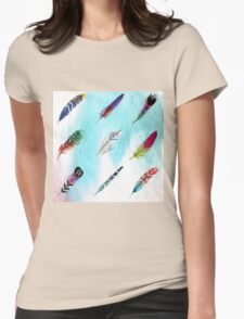 Watercolor boho feathers Womens Fitted T-Shirt
