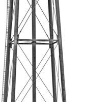 B&W - Water Tower in Rural California Sticker