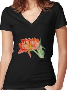 Peachy Tulips - T-Shirts Women's Fitted V-Neck T-Shirt