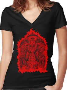 INVADED (red reverse print) Women's Fitted V-Neck T-Shirt