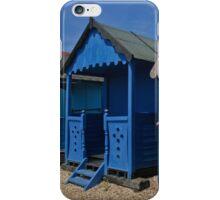 Blue beach huts iPhone Case/Skin