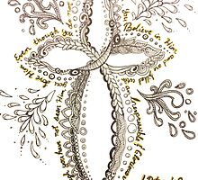 Zentangle Cross - 1 Peter 1:8 by AmandaRuthArt