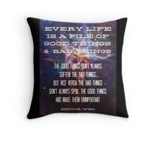 Good Things / Bad Things - Doctor Who Throw Pillow
