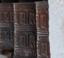 Buddhist prayer wheels in Nepal Sticker
