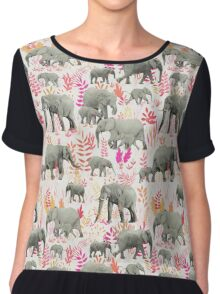 Sweet Elephants in Pink, Orange and Cream Chiffon Top