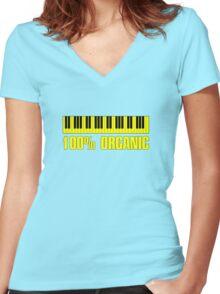 100 organic yellow Women's Fitted V-Neck T-Shirt