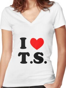 I Love T.S. Women's Fitted V-Neck T-Shirt