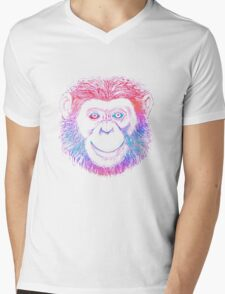 Chimpanzee Monkey Psychedelic Mens V-Neck T-Shirt