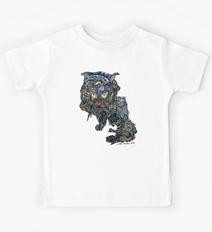Dragon Cat Color on Black Kids Tee