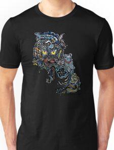 Dragon Cat Color on Black Unisex T-Shirt