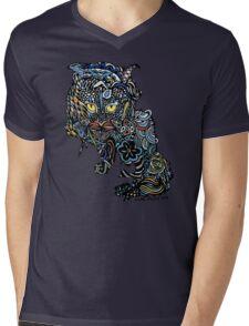 Dragon Cat Color on Black Mens V-Neck T-Shirt