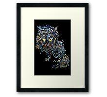 Dragon Cat Color on Black Framed Print
