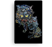 Dragon Cat Color on Black Canvas Print