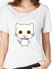 Cute Happy White Kitty Women's Relaxed Fit T-Shirt
