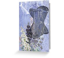 Lavender Purple Victorian Floral Steampunk Corset Greeting Card