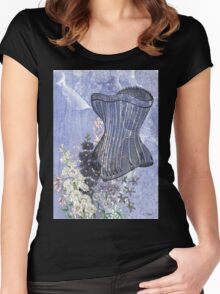 Lavender Purple Victorian Floral Steampunk Corset Women's Fitted Scoop T-Shirt