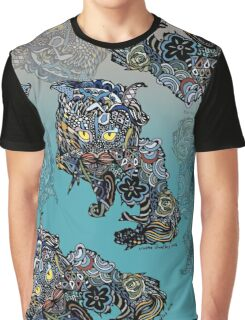 Dragon Cat Color on Faded Mint Blue Pattern Graphic T-Shirt