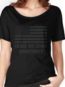 """""""LAND OF JOEY CHESTNUT"""" American Flag T-Shirt Women's Relaxed Fit T-Shirt"""