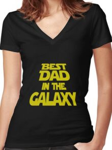 Mens T-shirt Best Dad In The Galaxy.  Father's Day Holiday or Gift Unisex T-Shirt Women's Fitted V-Neck T-Shirt