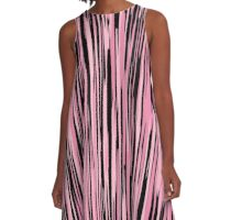 black and pink streaks A-Line Dress