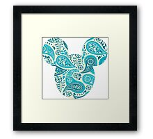 Mouse Paisley Patterned Silhouette Framed Print