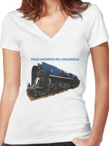 Steam locomotive 475.1 noblewoman Women's Fitted V-Neck T-Shirt