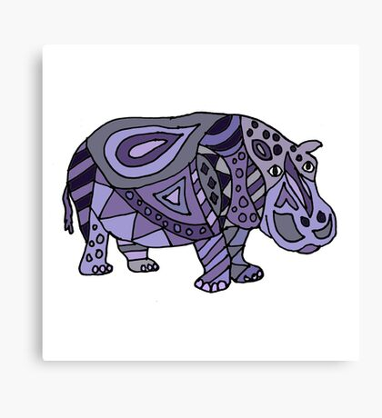 Cool Funky Funny Blue Hippo Abstract Art Canvas Print