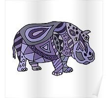 Cool Funky Funny Blue Hippo Abstract Art Poster