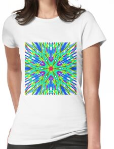Mandala On White With Aqua Pink And Blue Womens Fitted T-Shirt