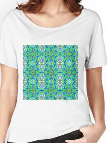 Mandala On White With Aqua Pink And Blue - Tiled Women's Relaxed Fit T-Shirt