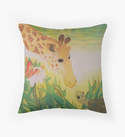 Silk art Neil Welsh exclusive designs-giraffe & turtle Throw Pillow